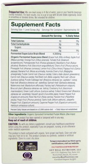 健康,注意力缺陷障礙,添加,adhd,腦 - Get Real Nutrition, Fermented SuperJuice Brain, 120 g