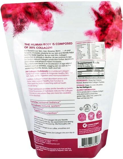 健康,骨骼,骨質疏鬆症,膠原蛋白 - Z!NT, Collagen Hydrolysate, Pure Protein, 16 oz (454 g)