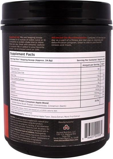 健康,骨骼,骨質疏鬆症,關節健康,骨湯,補充劑,蛋白質 - Ancient Nutrition, Bone Broth Protein, Cinnamon Apple, 17.4 oz (492 g)