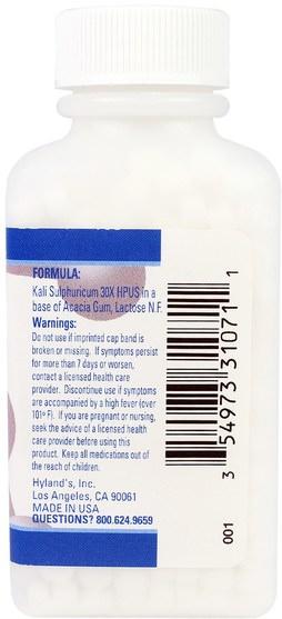 健康,感冒流感和病毒,感冒和流感,痤瘡 - Hylands, #7 Kali Sulph. 30X, 500 Tablets