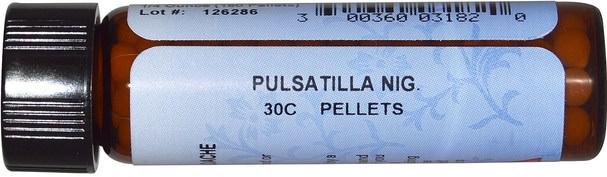 健康,感冒流感和病毒,感冒和流感,補充劑,順勢療法咳嗽感冒和流感 - Hylands, Standard Homeopathic, Pulsatilla Nig., 30C, 160 Pellets (1/4 oz)