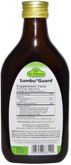 健康,感冒流感和病毒,接骨木(接骨木),菌群 - Flora, Dr. Dunner, Sambu Guard, 5.9 fl oz (175 ml)