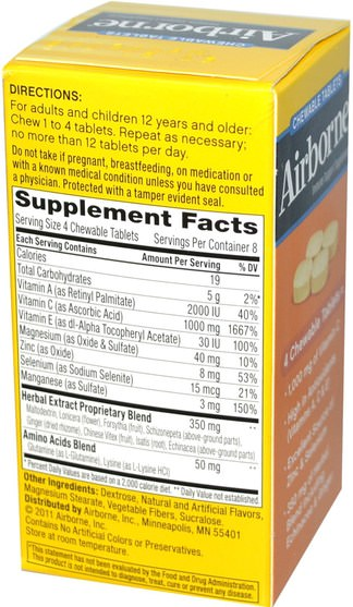 健康,感冒和病毒,免疫系統 - AirBorne, Blast of Vitamin C, Citrus, 32 ChewableTablets