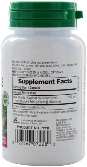 健康,排毒,奶薊(水飛薊素) - Natures Plus, Herbal Actives, Milk Thistle, 250 mg, 60 Veggie Caps
