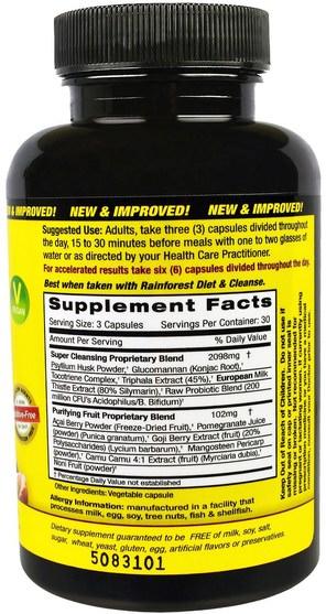 健康,排毒 - Rainforest, Super Cleanse, 90 Vegitable Capsules