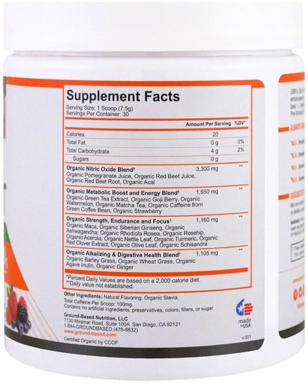 健康,能量,運動 - Ground Based Nutrition, Organic PreWorkout, Wild Berry, 225 g