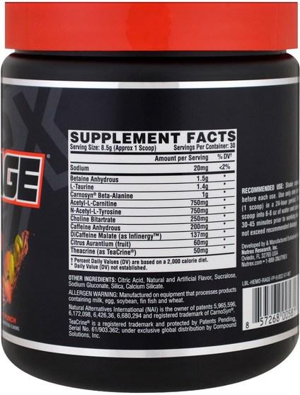 健康,能量,運動 - Nutrex Research Labs, Hemo-Rage Black, Ultra Concentrate, Fruit Punch, 9.0 oz (255 g)