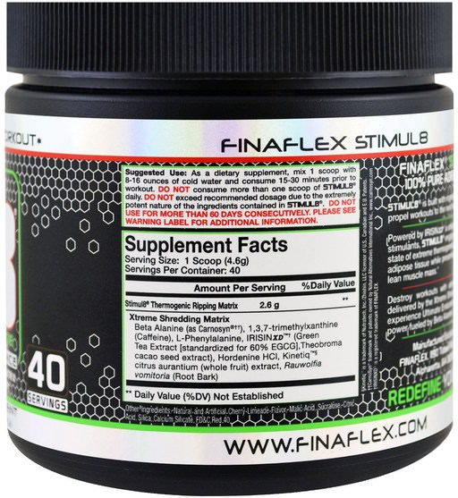 健康,能量,運動,鍛煉 - Finaflex, Stimul8, Shredding Pre-Workout, Cherry Limeade, 6.5 oz (184 g)