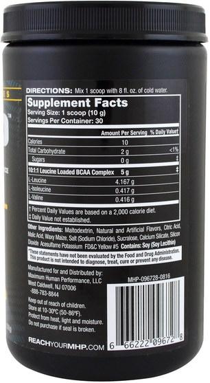 健康,能量,補充劑,氨基酸,bcaa(支鏈氨基酸) - Maximum Human Performance, Premium Series, BCAA-XL, Pineapple, 10.6 oz (300 g)
