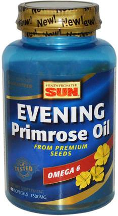 Evening Primrose Oil, Omega-6, 1300 mg, 60 Softgels by Health From The Sun, 補充劑,efa omega 3 6 9(epa dha),月見草油 HK 香港