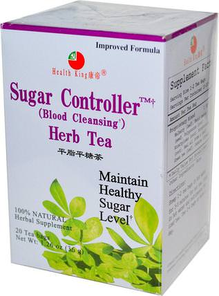 Sugar Controller (Blood Cleansing) Herb Tea, 20 Tea Bags 1.26 oz (36 g) by Health King, 健康,血糖,食物,涼茶 HK 香港