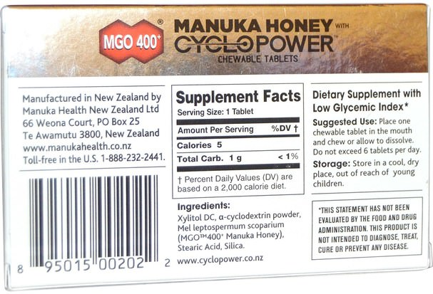 健康,肺和支氣管,咳嗽滴 - Manuka Health, MGO 400+, Manuka Honey with CycloPower, 16 Chewable Tablets