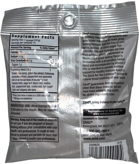 健康,肺和支氣管,咳嗽滴 - Zand, GreenTea, Herbalozenge, Sweet Mint, 15 Lozenges