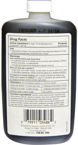 健康,肺和支氣管,補充劑,癒創甘油醚 - Naturade, Sugar-Free Expec, Licorice Flavor, 8.8 fl oz (260 ml)
