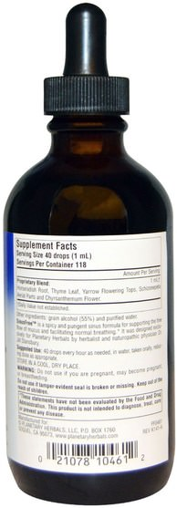 健康,鼻腔健康,辣根 - Planetary Herbals, SinusFree, 4 fl oz (118.28 ml)