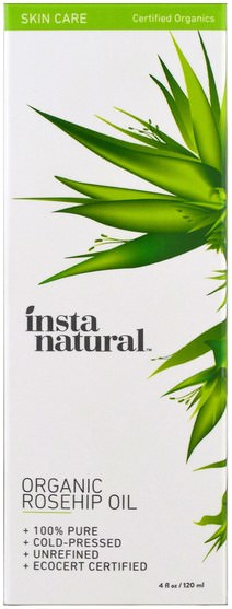 健康,皮膚,香薰精油,玫瑰果籽油 - InstaNatural, Organic Rosehip Oil, Skin Care, 4 fl oz (120 ml)