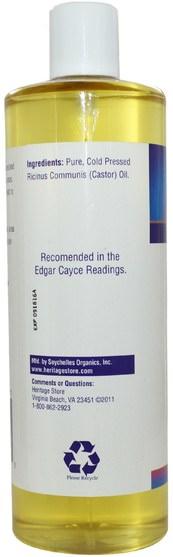 健康,皮膚,蓖麻油 - Heritage Stores, Castor Oil, 16 fl oz (480 ml)