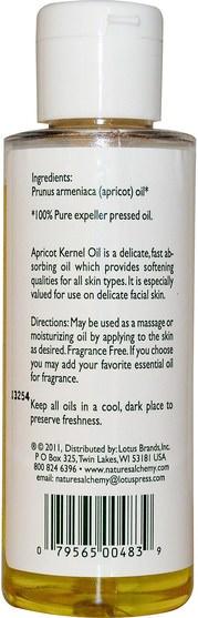 健康,皮膚,按摩油,杏仁油 - Natures Alchemy, Apricot Kernel Oil, 4 fl oz (118 ml)