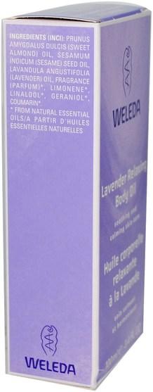 健康,皮膚,按摩油,身體護理油 - Weleda, Relaxing Body Oil, Lavender, 3.4 fl oz (100 ml)