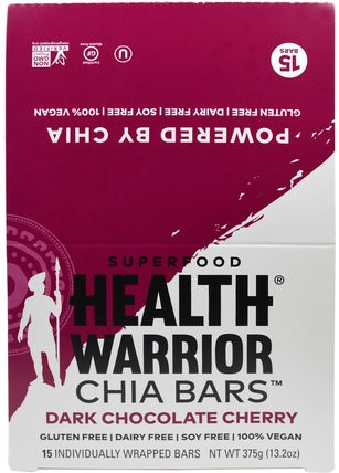 Health Warrior, Chia Bars, Dark Chocolate Cherry, 15 Bars, 13.2 oz (375 g) 補充劑,營養棒,efa omega 3 6 9(epa dha),正大種子