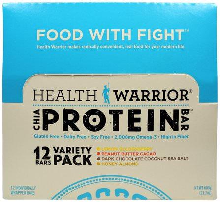 Health Warrior, Chia Protein Bars, Variety Pack, 12 Bars, 50 g Each 運動,蛋白質棒