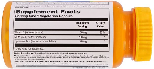 健康,女性,透明質酸,抗衰老 - Thompson, Hyaluronic Acid - MSM, 30 Veggie Caps