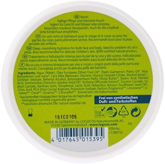 健康,女性,皮膚 - Logona Naturkosmetik, Daily Care, Skin Cream, Aloe & Verveine, 5.1 oz (150 ml)