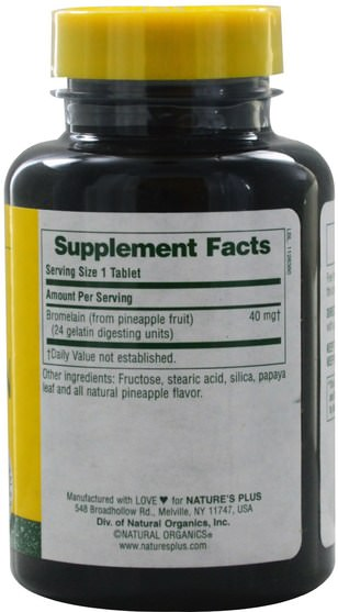 健康,女性,補品,酶,菠蘿蛋白酶 - Natures Plus, Bromelain, Chewable, 40 mg, 180 Tablets
