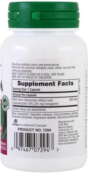 健康,女性,野生山藥 - Natures Plus, Herbal Actives, Wild Yam, 250 mg, 60 Veggie Caps