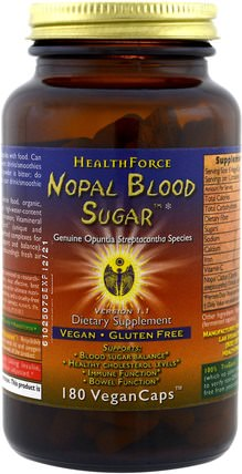 Nopal Blood Sugar, 180 Veggie Caps by HealthForce Nutritionals, 健康,血糖,胭脂仙人掌(仙人掌仙人掌) HK 香港