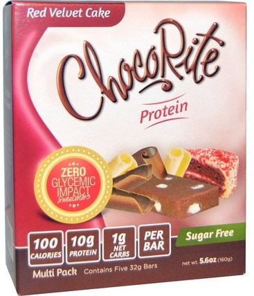 ChocoRite Bars, Red Velvet Cake, 5 Bars, 5.6 oz (32 g) Each by HealthSmart Foods, 熱敏產品,運動,蛋白棒 HK 香港