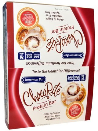 HealthSmart Foods, ChocoRite Protein Bar, Cinnamon Bun, 12 Bars, 2.26 oz (64 g) Each 熱敏產品,運動,蛋白棒
