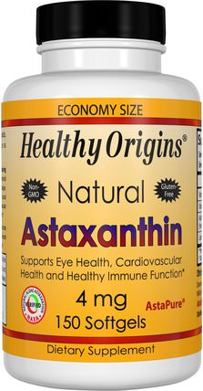 Astaxanthin, 4 mg, 150 Softgels by Healthy Origins, 補充劑,抗氧化劑,蝦青素 HK 香港