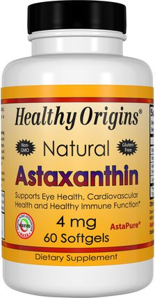 Astaxanthin, 4 mg, 60 Softgels by Healthy Origins, 補充劑,抗氧化劑,蝦青素 HK 香港