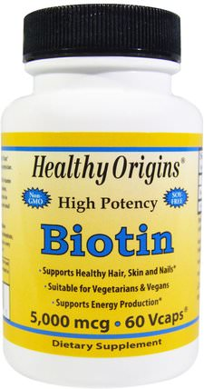 Biotin, High Potency, 5.000 mcg, 60 Vcaps by Healthy Origins, 維生素,維生素B,生物素 HK 香港