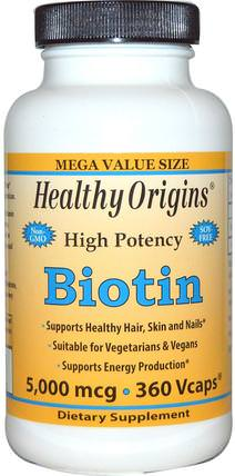 Biotin, High Potency, 5.000 mcg, 360 Vcaps by Healthy Origins, 維生素,維生素B,生物素 HK 香港