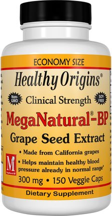 MegaNatural-BP Grape Seed Extract, 300 mg, 150 Veggie Caps by Healthy Origins, 補充劑,抗氧化劑,葡萄籽提取物,健康,血壓 HK 香港