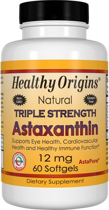 Natural Triple Strength Astaxanthin, 12 mg, 60 Softgels by Healthy Origins, 補充劑,抗氧化劑,蝦青素 HK 香港