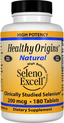 Seleno Excell, 200 mcg, 180 Tablets by Healthy Origins, 補充劑,抗氧化劑,硒,selenoexcell硒 HK 香港