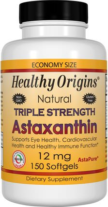 Triple Strength Astaxanthin, 12 mg, 150 Softgels by Healthy Origins, 補充劑,抗氧化劑,蝦青素 HK 香港
