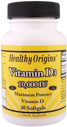 Vitamin D3, 10.000 IU, 30 Softgels by Healthy Origins, 維生素,維生素D3 HK 香港