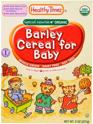 Organic Cereal for Baby, Barley, 8 oz (227 g) by Healthy Times, 兒童健康,嬰兒餵養,嬰兒穀物,兒童食品 HK 香港