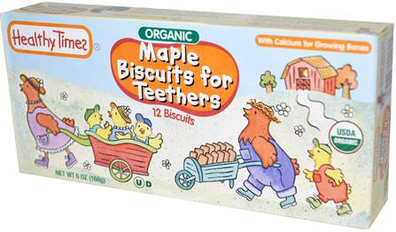 Organic Biscuits for Teethers, Maple, 12 Biscuits, 6 oz (168 g) by Healthy Times, 兒童健康,嬰兒餵養,嬰兒零食和手指食物,嬰兒出牙 HK 香港