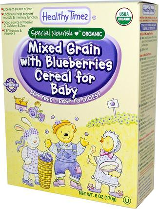 Organic Cereal for Baby, Mixed Grain with Blueberries, 6 oz (170 g) by Healthy Times, 兒童健康,嬰兒餵養,嬰兒穀物,兒童食品 HK 香港