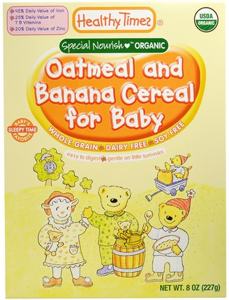 Organic Cereal for Baby, Oatmeal and Banana, 8 oz (227 g) by Healthy Times, 兒童健康,嬰兒餵養,嬰兒穀物,兒童食品 HK 香港