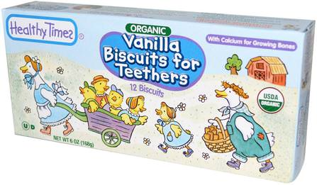 Organic Vanilla Biscuits for Teethers, 12 Biscuits, 6 oz (168 g) by Healthy Times, 兒童健康,嬰兒餵養,嬰兒零食和手指食物,嬰兒出牙 HK 香港