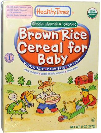 Organic Cereal for Baby, Brown Rice, 8 oz (227 g) by Healthy Times, 兒童健康,嬰兒餵養,嬰兒穀物,兒童食品 HK 香港