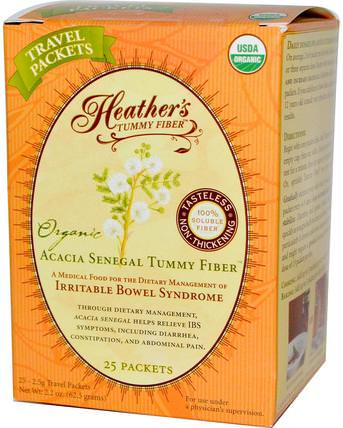 Organic Acacia Senegal Tummy Fiber, 25 Travel Packets, 2.5 g Each by Heathers Tummy Care, 補充劑,纖維,金合歡纖維 HK 香港