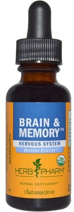 Brain & Memory, Nervous System, 1 fl oz (30 ml) by Herb Pharm, 健康,注意力缺陷障礙,添加,adhd,大腦,記憶 HK 香港