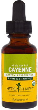Cayenne, 1 fl oz (30 ml) by Herb Pharm, 香草,辣椒(辣椒) HK 香港